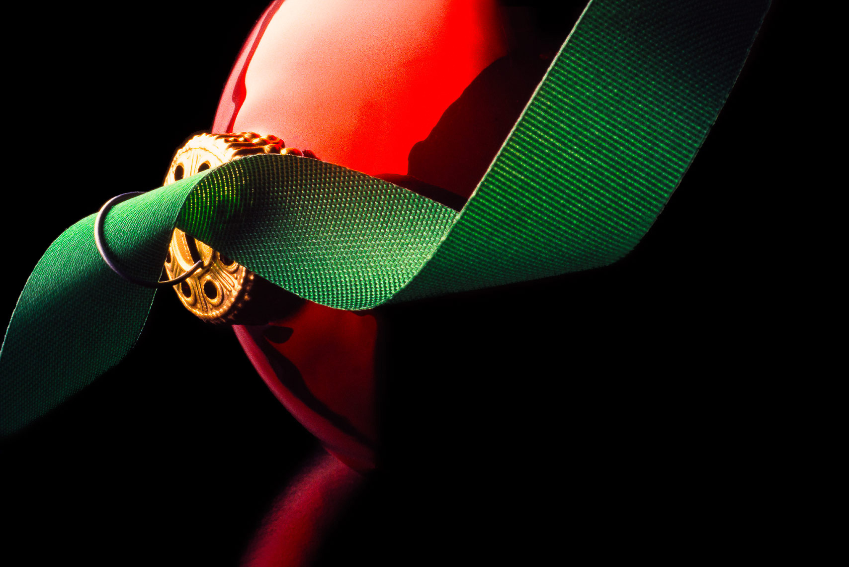Christmas ornament and ribbon