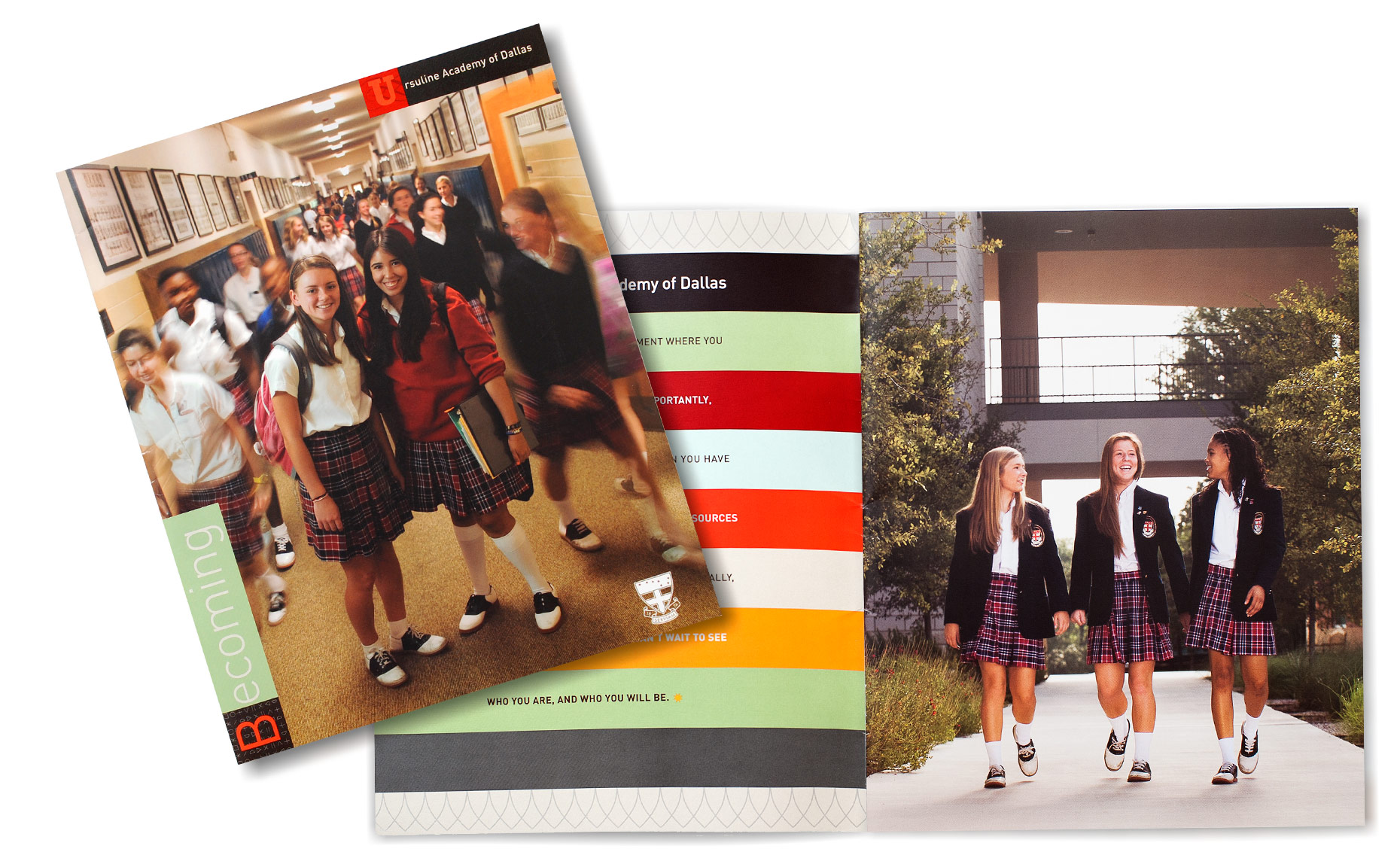 Ursuline Viewbook students cover and spread