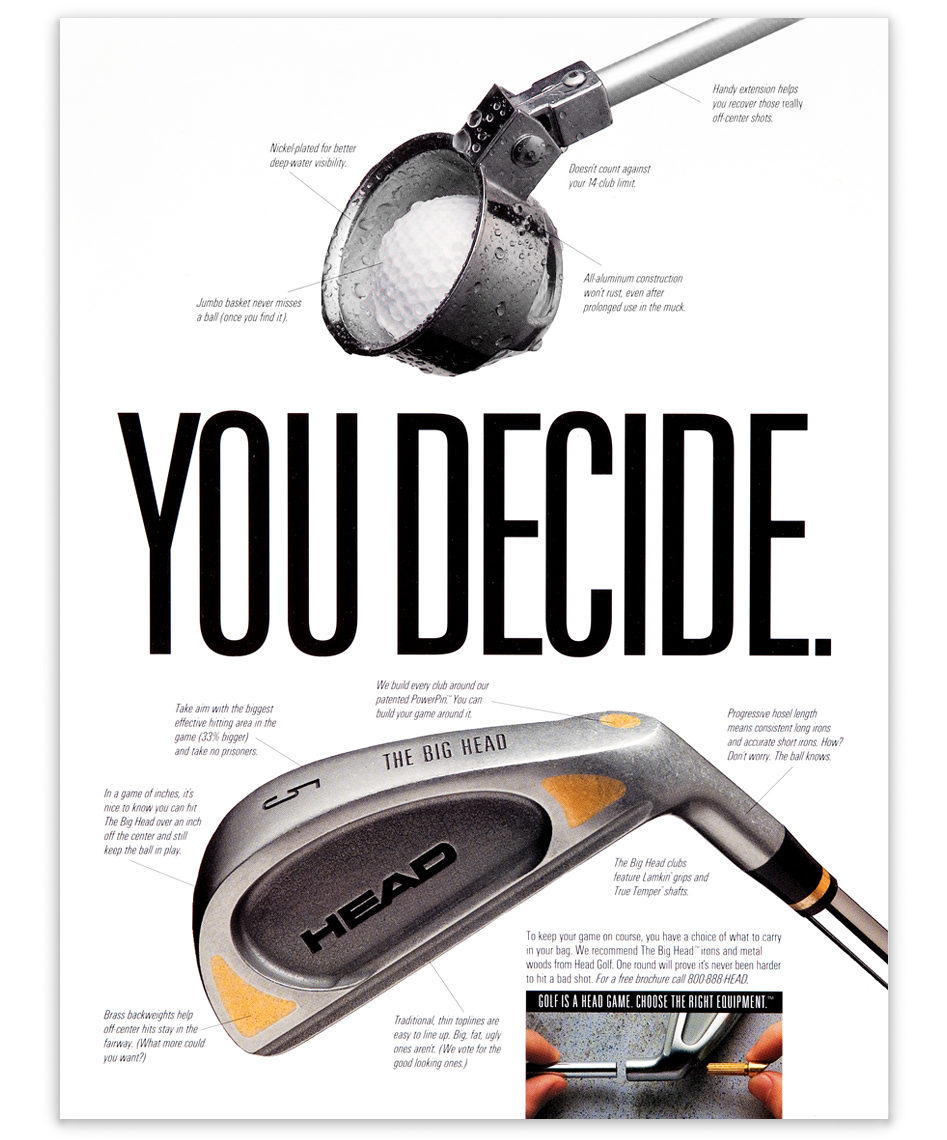 Ad for Head golf clubs